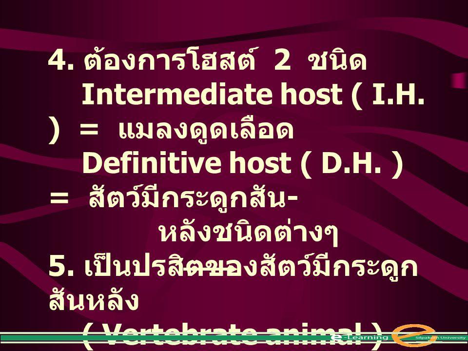 4. ต้องการโฮสต์ 2 ชนิด Intermediate host ( I.H. ) = แมลงดูดเลือด. Definitive host ( D.H. ) = สัตว์มีกระดูกสัน- หลังชนิดต่างๆ.