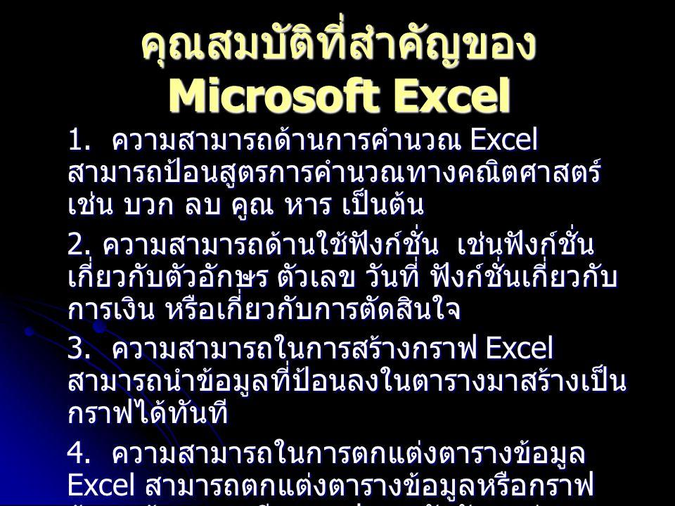 คุณสมบัติที่สำคัญของ Microsoft Excel