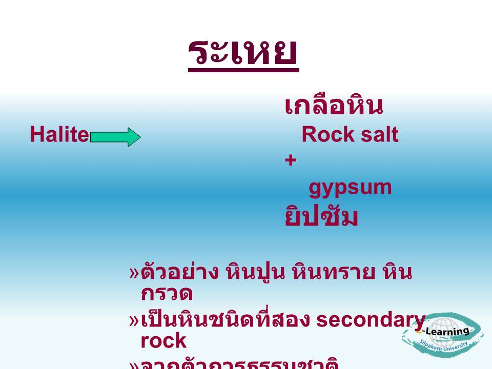 ระเหย Halite Rock salt + gypsum ตัวอย่าง หินปูน หินทราย หินกรวด
