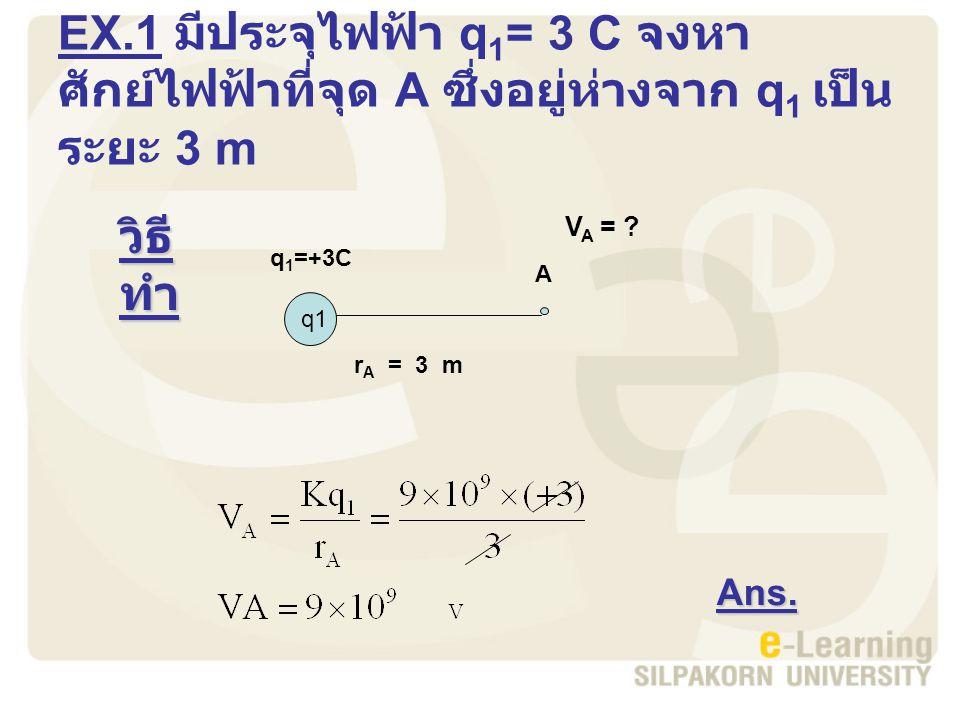 EX.1 มีประจุไฟฟ้า q1= 3 C จงหาศักย์ไฟฟ้าที่จุด A ซึ่งอยู่ห่างจาก q1 เป็นระยะ 3 m