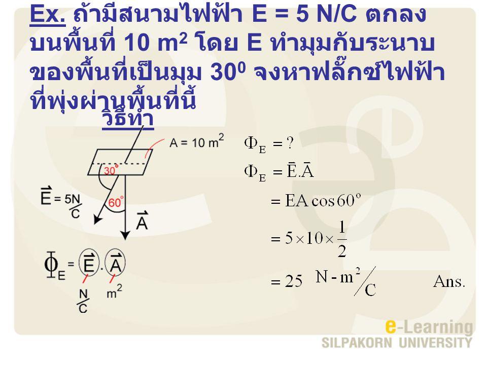 Ex. ถ้ามีสนามไฟฟ้า E = 5 N/C ตกลงบนพื้นที่ 10 m2 โดย E ทำมุมกับระนาบของพื้นที่เป็นมุม 300 จงหาฟลั๊กซ์ไฟฟ้าที่พุ่งผ่านพื้นที่นี้