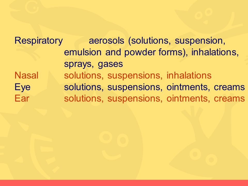 Respiratory aerosols (solutions, suspension,