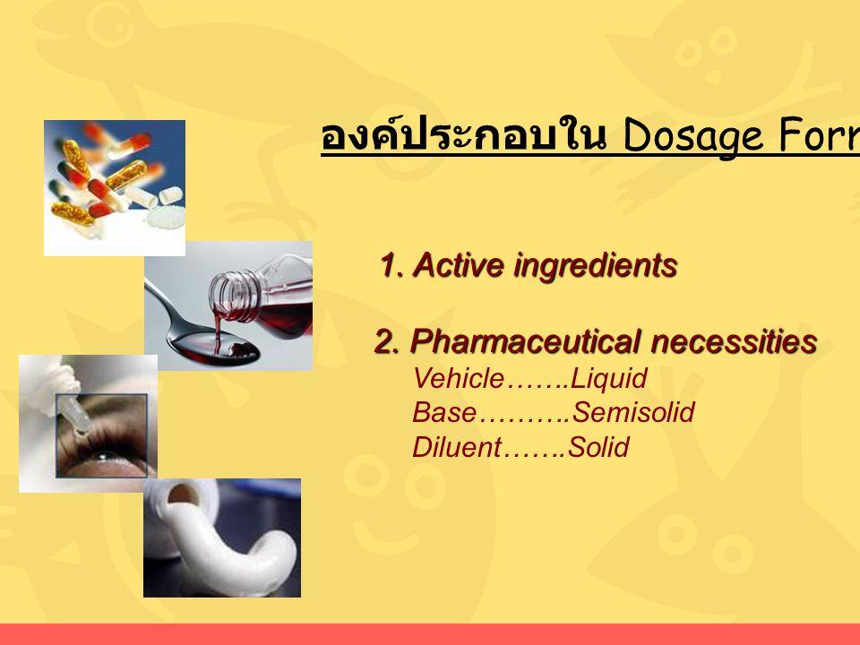 องค์ประกอบใน Dosage Forms