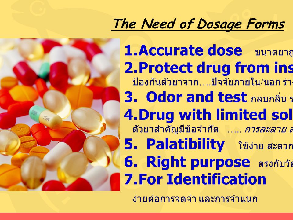 Accurate dose ขนาดยาถูกต้อง Protect drug from instability