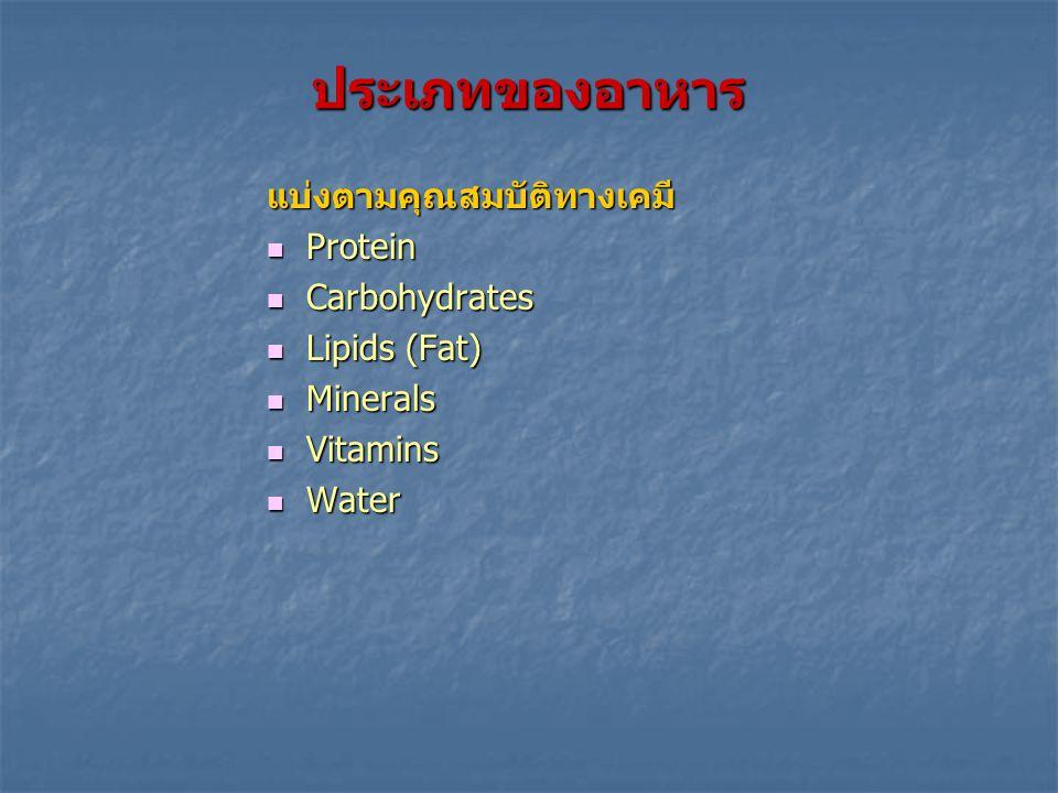 ประเภทของอาหาร แบ่งตามคุณสมบัติทางเคมี Protein Carbohydrates