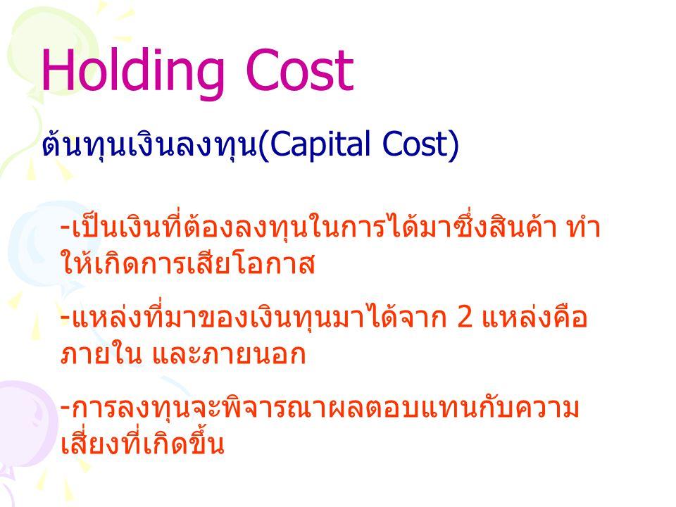 Holding Cost ต้นทุนเงินลงทุน(Capital Cost)