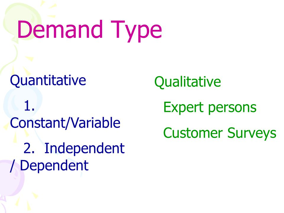 Demand Type Quantitative Qualitative 1. Constant/Variable