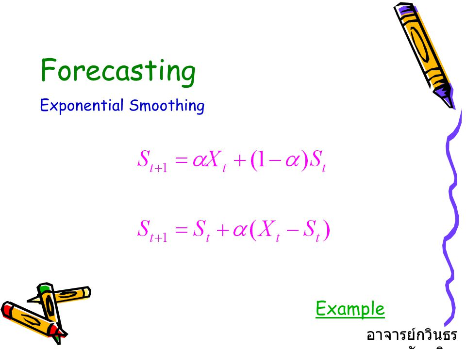 Forecasting Exponential Smoothing Example อาจารย์กวินธร สัยเจริญ