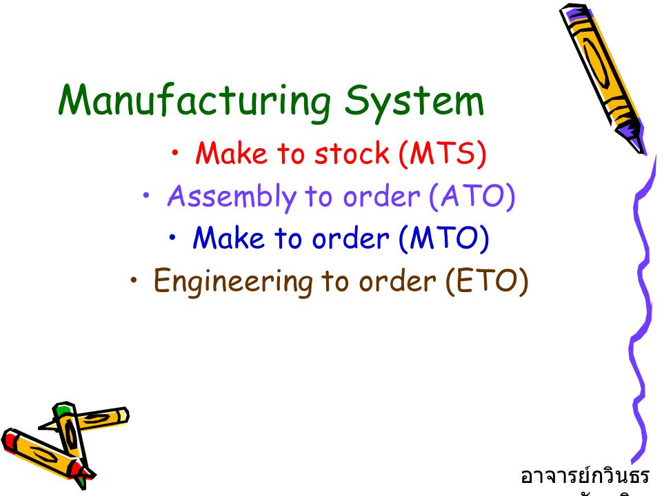 Manufacturing System Make to stock (MTS) Assembly to order (ATO)