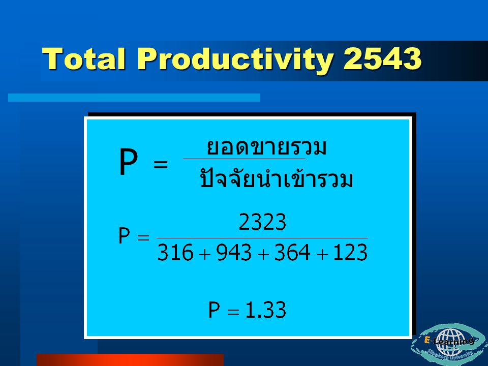 Total Productivity 2543 ยอดขายรวม P = ปัจจัยนำเข้ารวม
