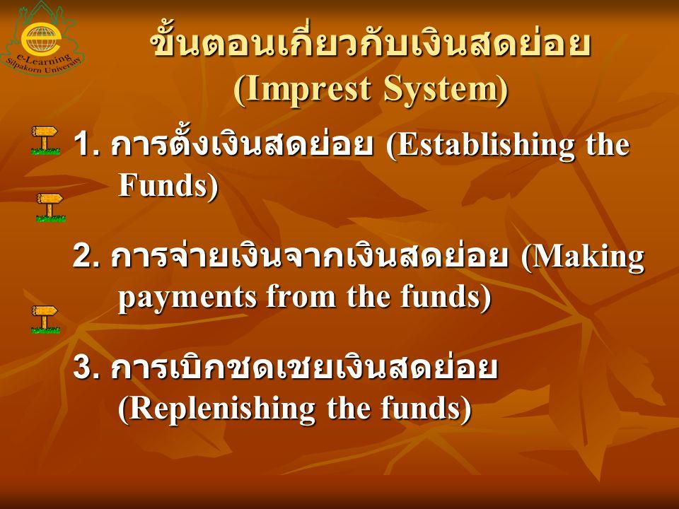 ขั้นตอนเกี่ยวกับเงินสดย่อย (Imprest System)