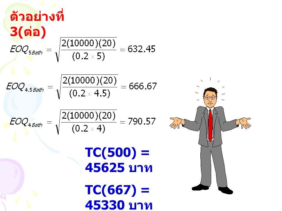 ตัวอย่างที่ 3(ต่อ) TC(500) = 45625 บาท TC(667) = 45330 บาท TC(1000) = 45480 บาท