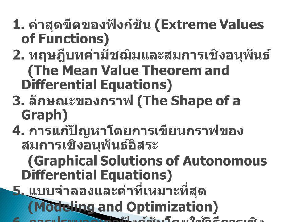 1. ค่าสุดขีดของฟังก์ชัน (Extreme Values of Functions) 2