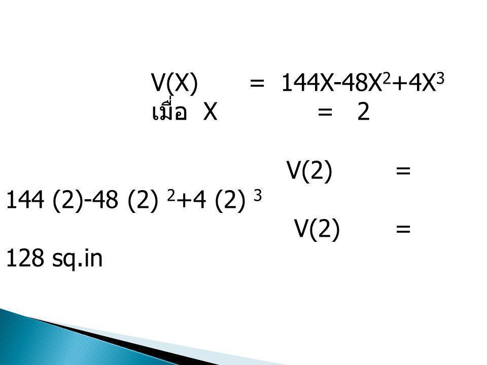 V(X) = 144X-48X2+4X3 เมื่อ X = 2.