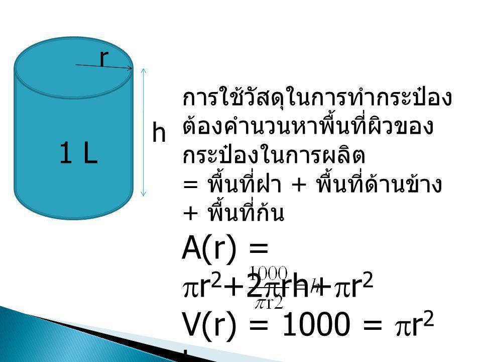 A(r) = r2+2rh+r2 V(r) = 1000 = r2 h 1 L r h