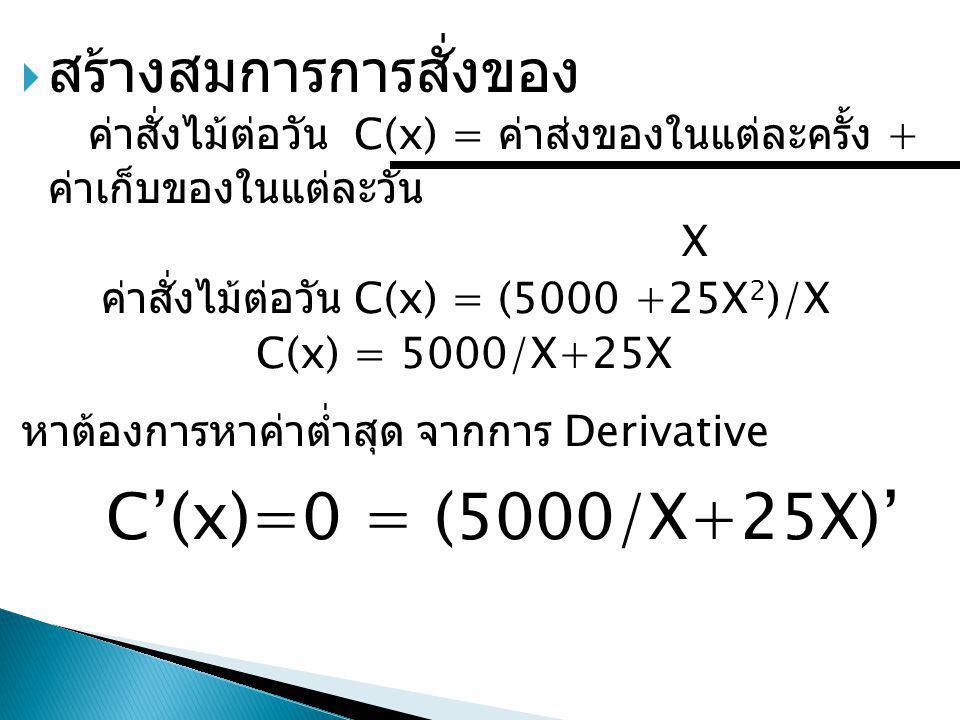 หาต้องการหาค่าต่ำสุด จากการ Derivative C'(x)=0 = (5000/X+25X)'