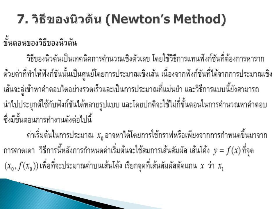 7. วิธีของนิวตัน (Newton's Method)