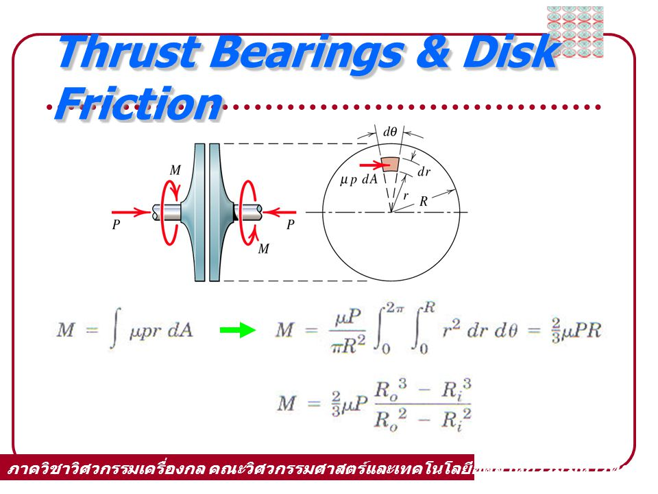 Thrust Bearings & Disk Friction