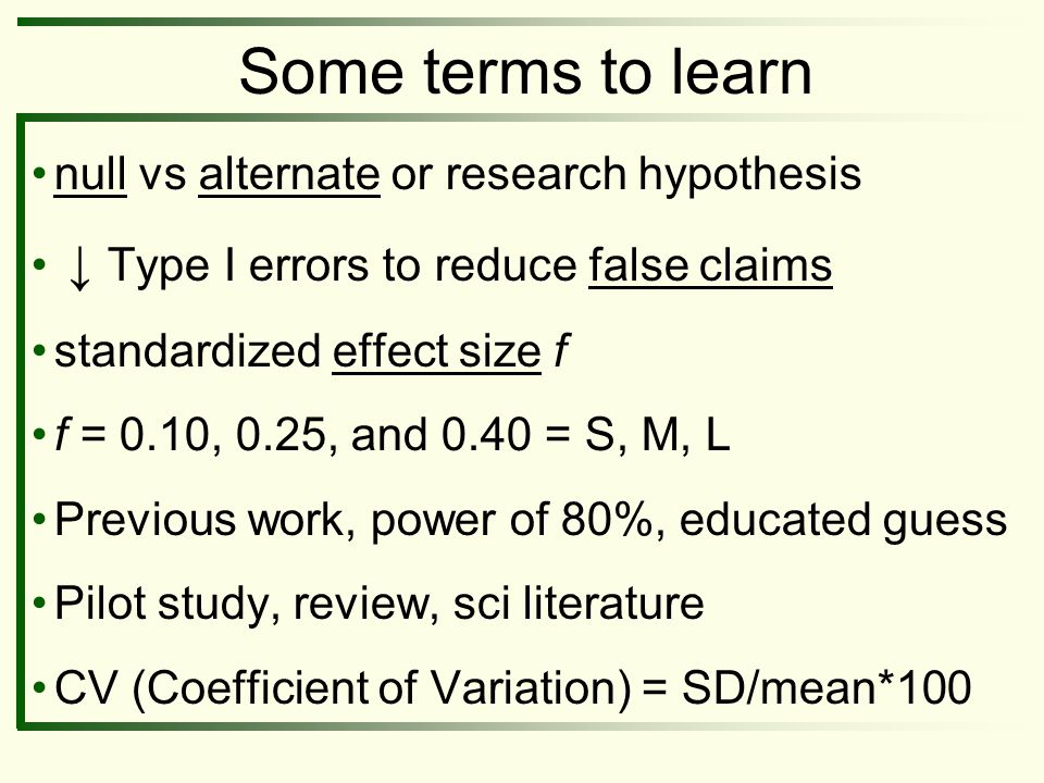 Some terms to learn null vs alternate or research hypothesis