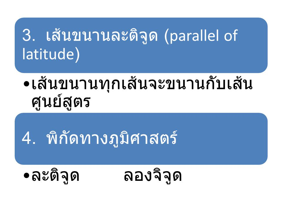 3. เส้นขนานละติจูด (parallel of latitude)