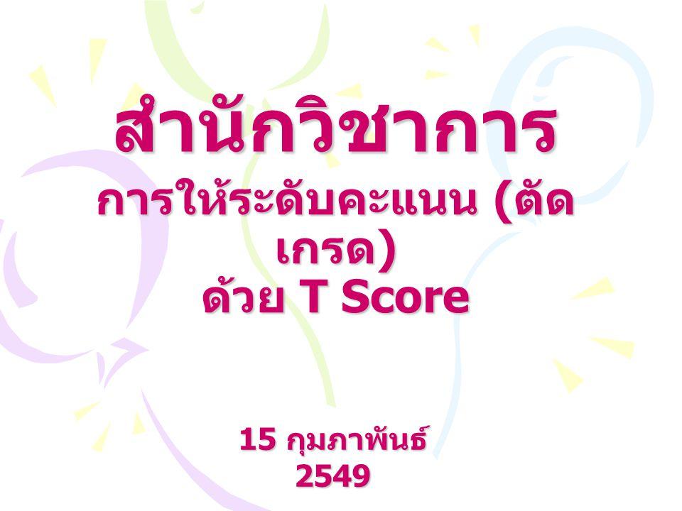 การให้ระดับคะแนน (ตัดเกรด) ด้วย T Score