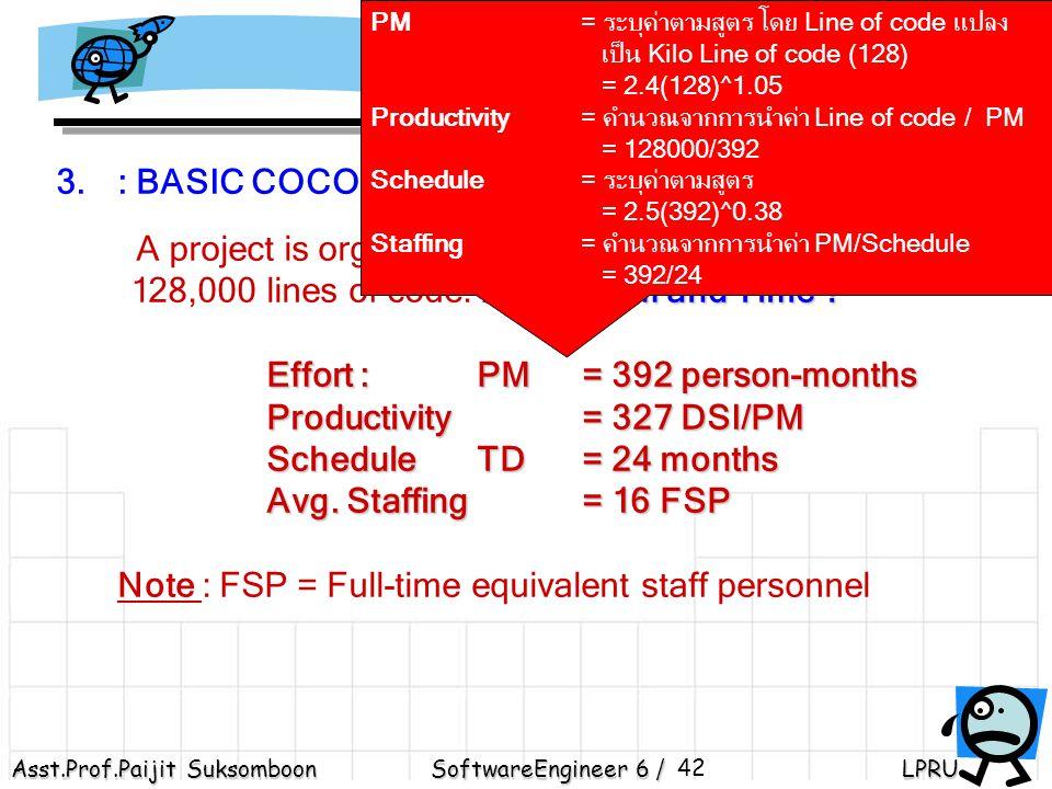 Productivity = คำนวณจากการนำค่า Line of code / PM = 128000/392