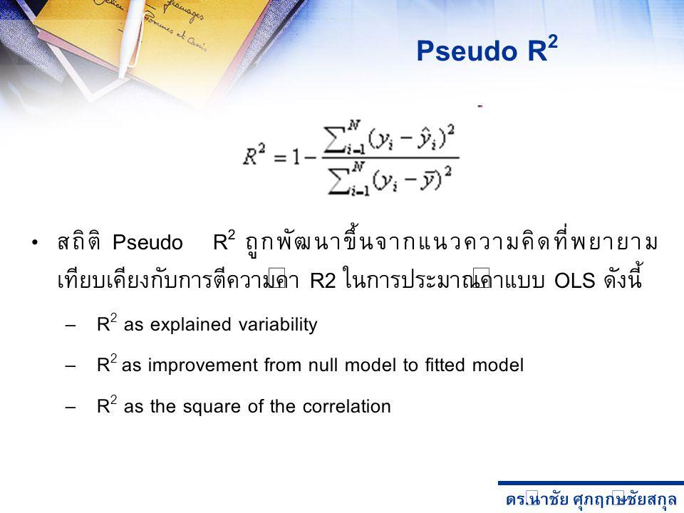 Pseudo R2 สถิติ Pseudo R2 ถูกพัฒนาขึ้นจากแนวความคิดที่พยายามเทียบเคียงกับการตีความค่า R2 ในการประมาณค่าแบบ OLS ดังนี้