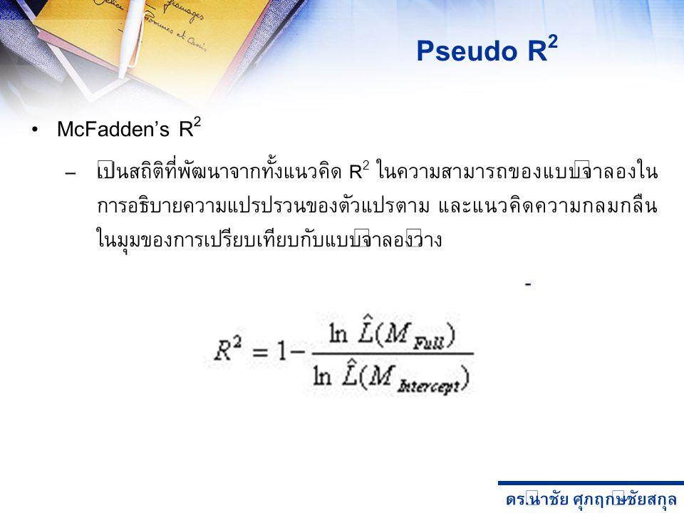 Pseudo R2 McFadden's R2.