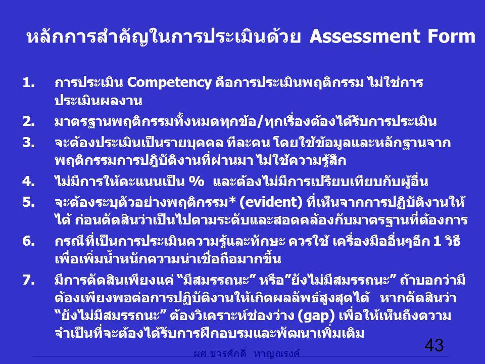 หลักการสำคัญในการประเมินด้วย Assessment Form