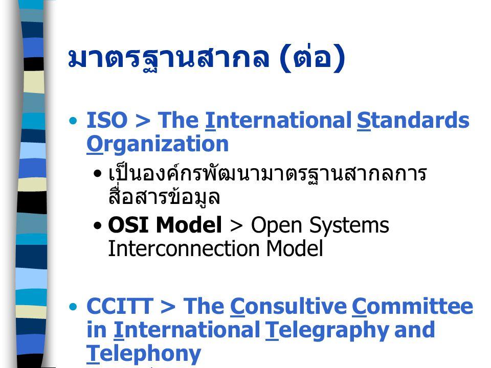 มาตรฐานสากล (ต่อ) ISO > The International Standards Organization