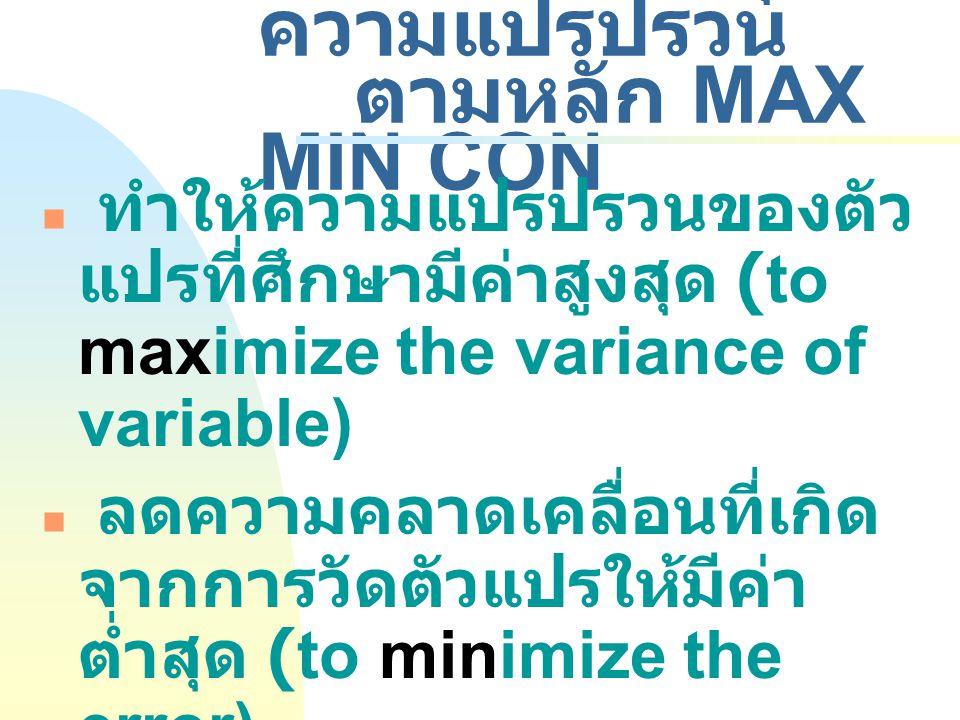 4.3 การควบคุมความแปรปรวน ตามหลัก MAX MIN CON