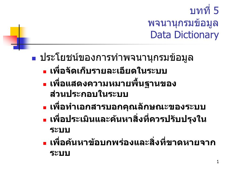 บทที่ 5 พจนานุกรมข้อมูล Data Dictionary