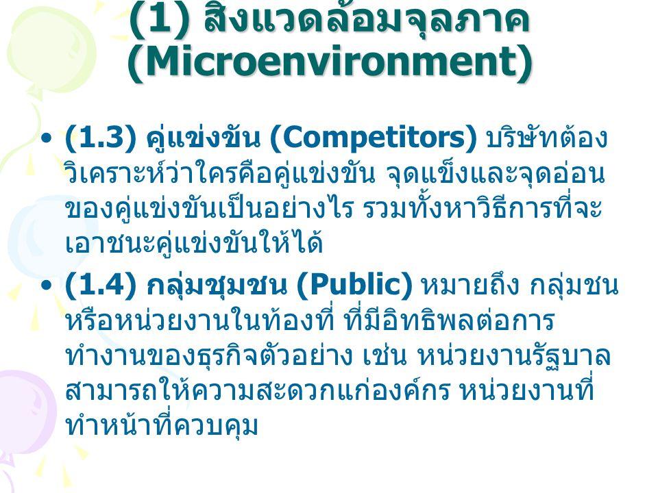 (1) สิ่งแวดล้อมจุลภาค (Microenvironment)