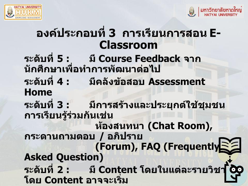 องค์ประกอบที่ 3 การเรียนการสอน E-Classroom