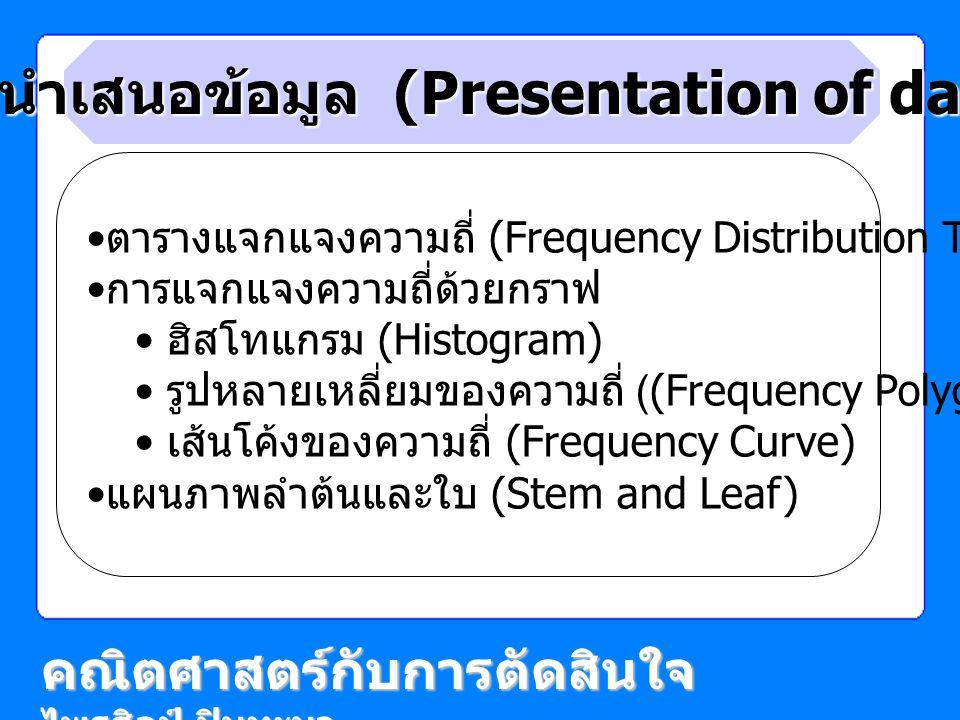 การนำเสนอข้อมูล (Presentation of data)