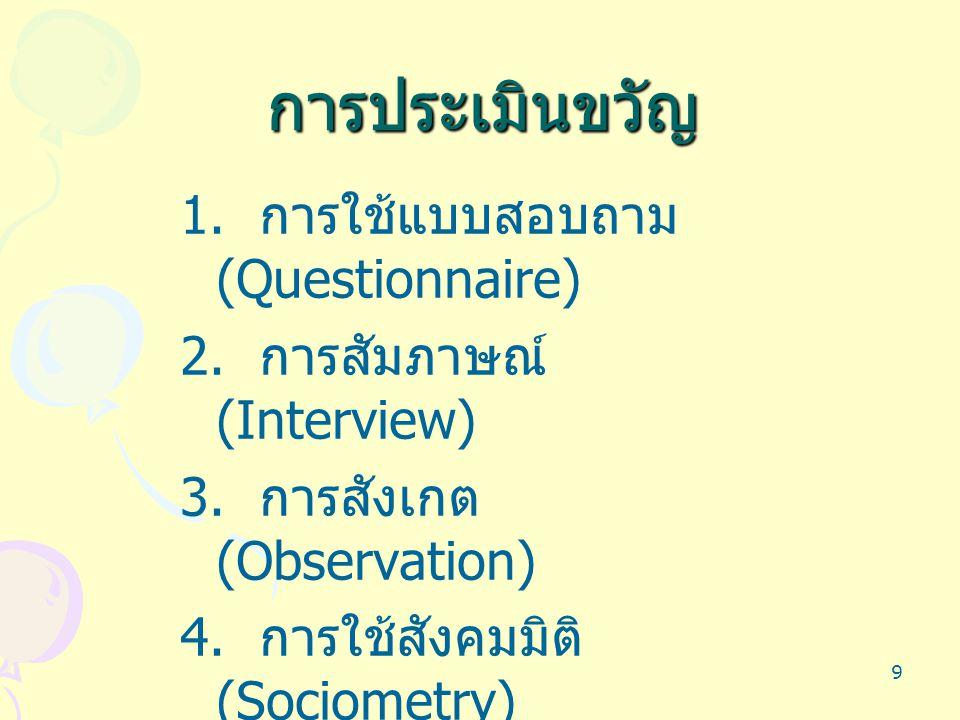การประเมินขวัญ 1. การใช้แบบสอบถาม (Questionnaire)
