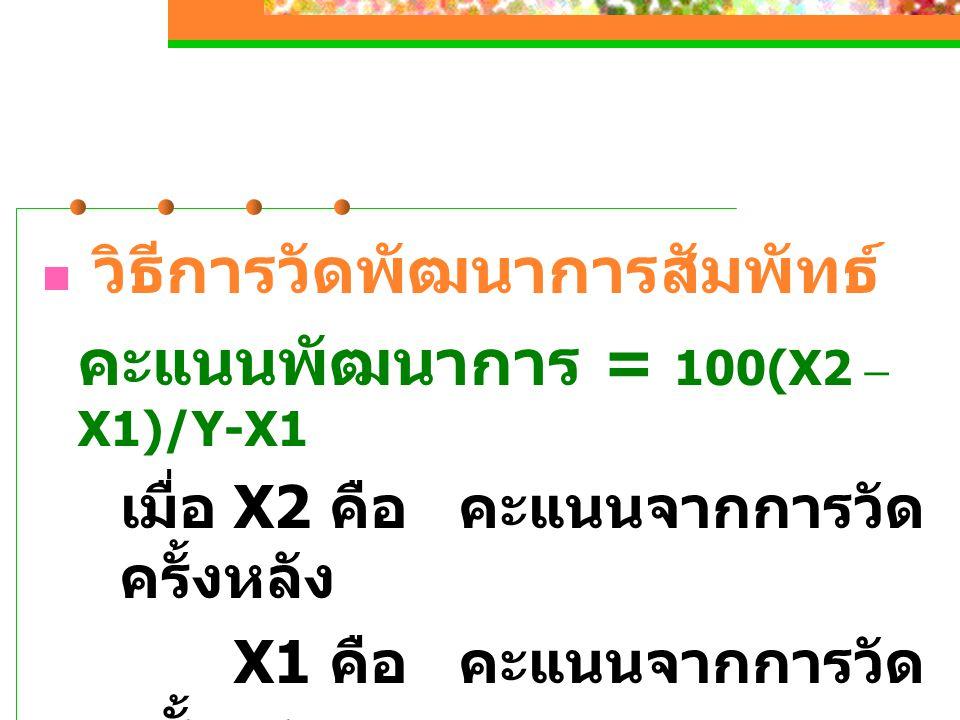 คะแนนพัฒนาการ = 100(X2 – X1)/Y-X1
