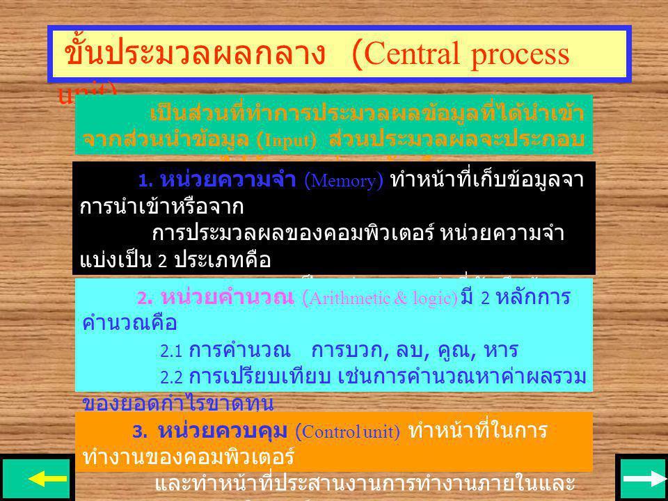 ขั้นประมวลผลกลาง (Central process unit)