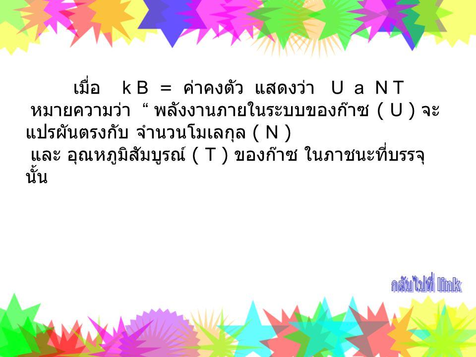 กลับไปที่ link เมื่อ k B = ค่าคงตัว แสดงว่า U a N T