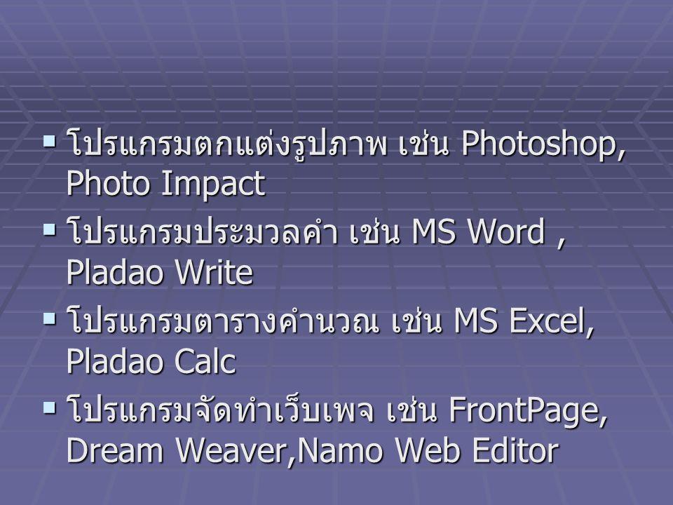 โปรแกรมตกแต่งรูปภาพ เช่น Photoshop, Photo Impact