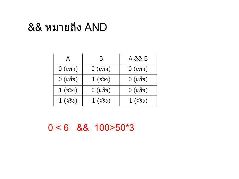 && หมายถึง AND A B A && B 0 (เท็จ) 1 (จริง) 0 < 6 && 100>50*3