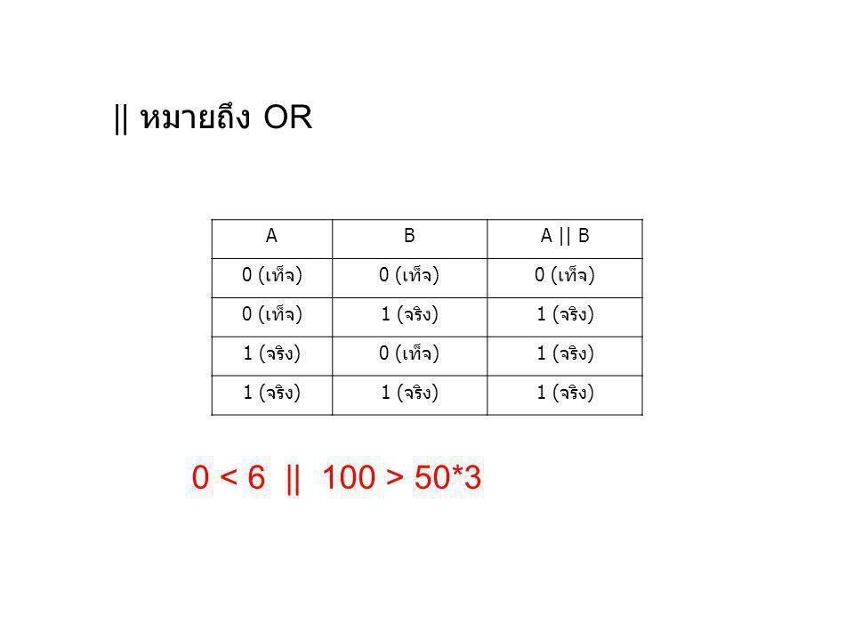 || หมายถึง OR A B A || B 0 (เท็จ) 1 (จริง) 0 < 6 || 100 > 50*3