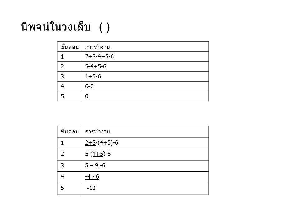 นิพจน์ในวงเล็บ ( ) ขั้นตอน การทำงาน 1 2+3-4+5-6 2 5-4+5-6 3 1+5-6 4