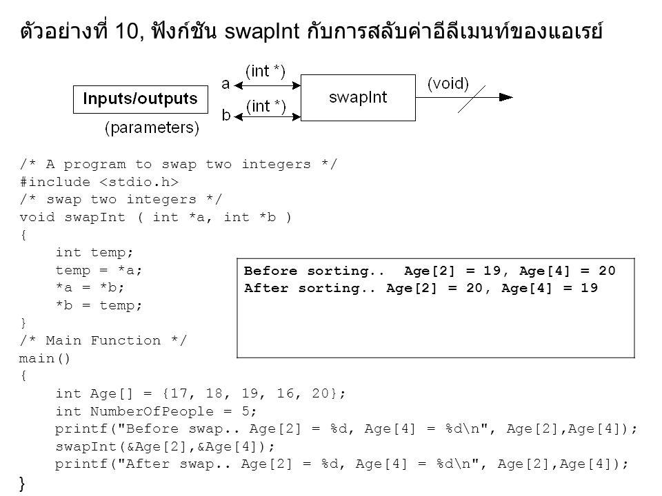 ตัวอย่างที่ 10, ฟังก์ชัน swapInt กับการสลับค่าอีลีเมนท์ของแอเรย์