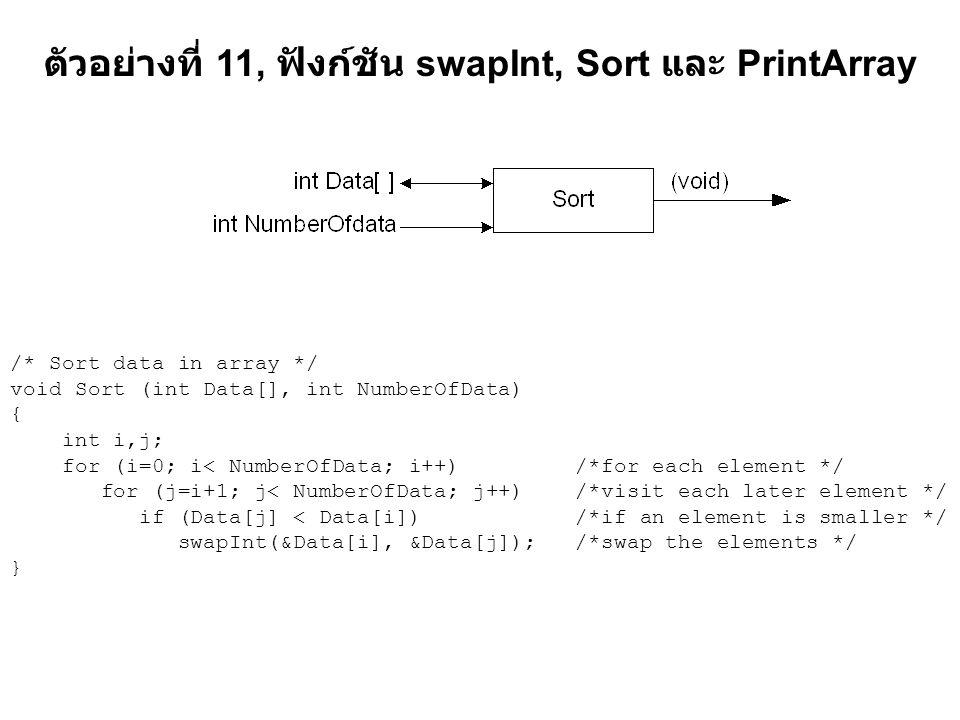 ตัวอย่างที่ 11, ฟังก์ชัน swapInt, Sort และ PrintArray