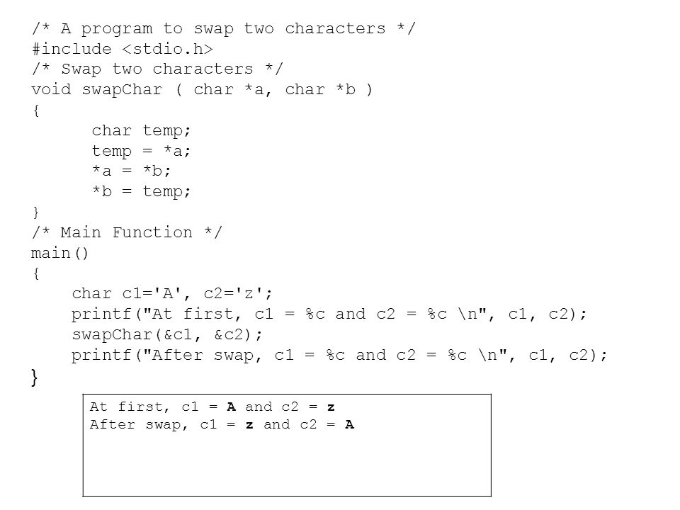 /* A program to swap two characters */ #include <stdio.h>