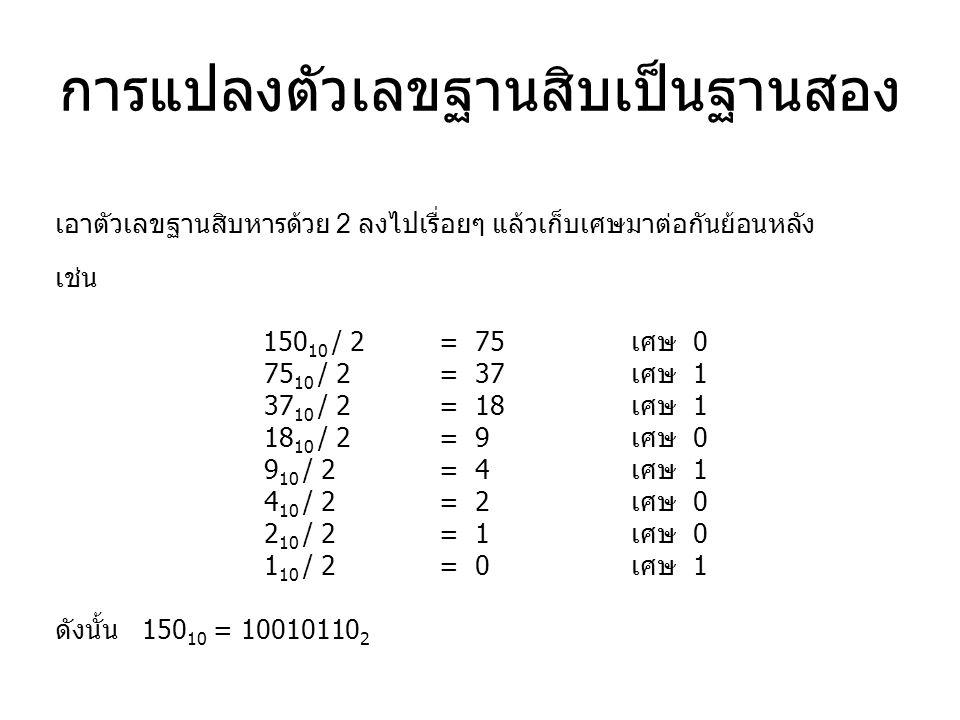 การแปลงตัวเลขฐานสิบเป็นฐานสอง