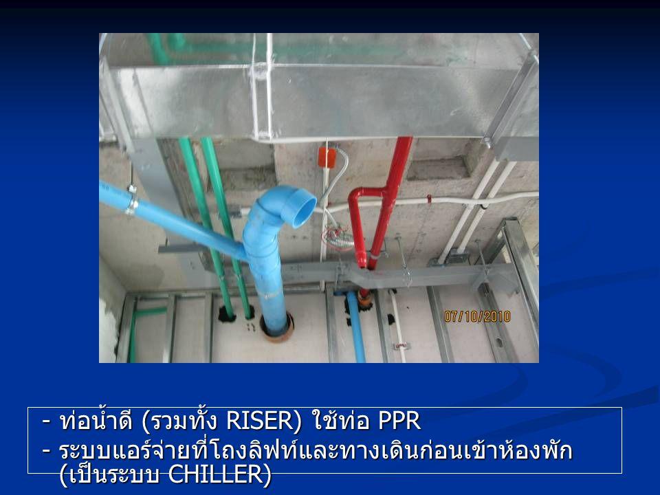- ท่อน้ำดี (รวมทั้ง RISER) ใช้ท่อ PPR