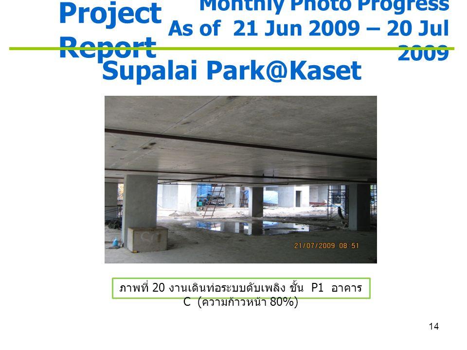 ภาพที่ 20 งานเดินท่อระบบดับเพลิง ชั้น P1 อาคาร C (ความก้าวหน้า 80%)