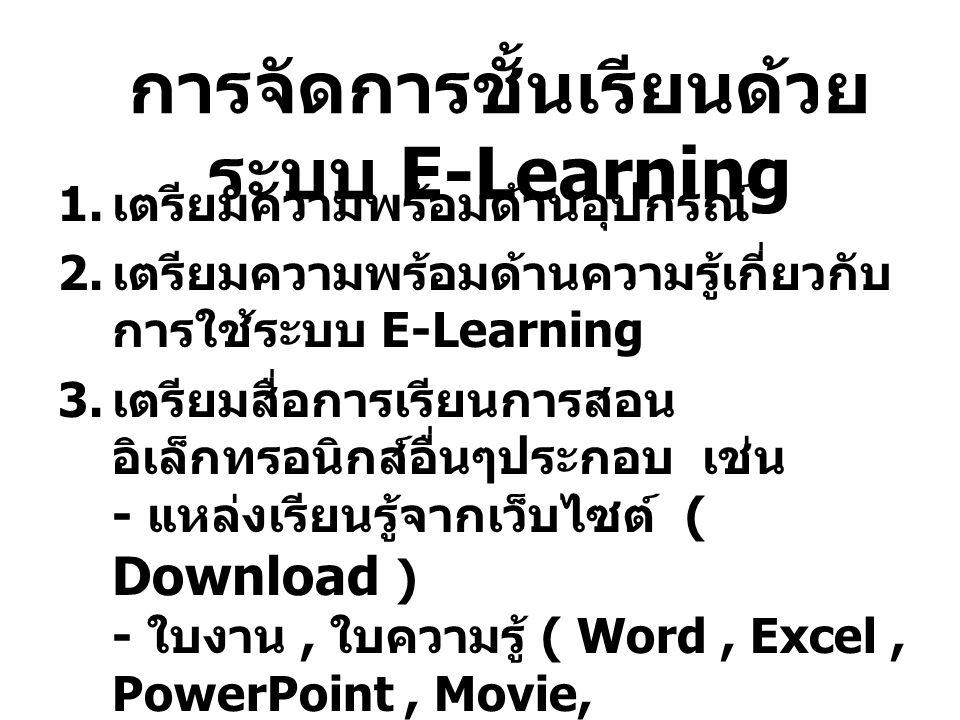 การจัดการชั้นเรียนด้วยระบบ E-Learning